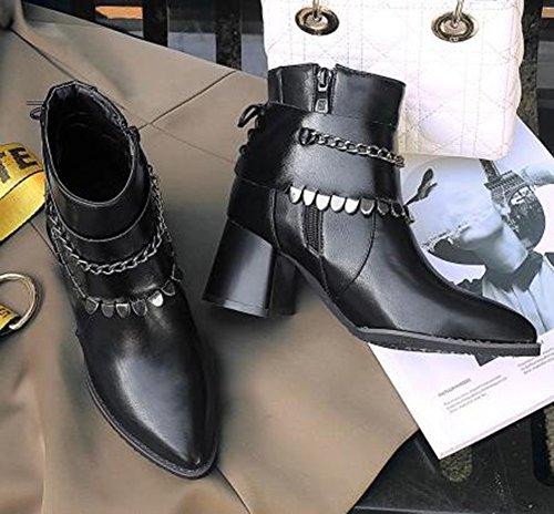 Easemax Womens Chaînes À La Mode Bout Pointu Mi Chunky Talon Glissière Latérale Bottes Noir