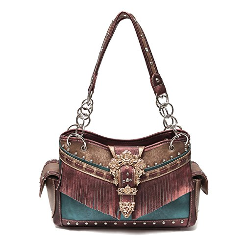 Western Handbag - Gold Buckle Stud Accented with front Fringe Décor Traditional Two-Toned Concealed Carry Shoulderbag