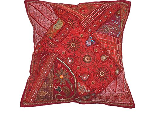 NovaHaat Maroon and Brick Red Handcrafted Tapestry Floor Pillow Cover - Beaded Decorative Sari Patchwork Ethnic Indian Large Square Euro Sham ~ 26 Inch x 26 Inch