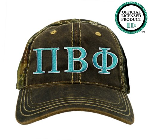 Pi Beta Phi (Pi Phi) Embroidered Camo Baseball Hat, Various Colors