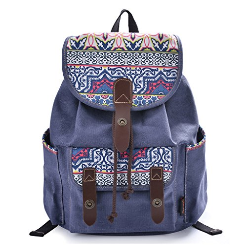 Douguyan Women Floral Print Casual Canvas Backpack Rucksack Classical School Backpacks Blue 137