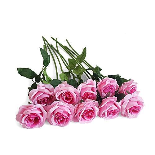 Eternal Blossom 10pcs Artificial Rose Silk Flower 50cm Fake Rose Blossom Bridal Bouquet for Home Wedding Decor (Dark Pink)