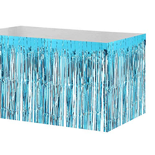 (Decdeal Metallic Foil Fringe Table Skirt Tinsel Shimmer Table Skirt Decoration Hotel Reception Wedding Christmas Party (29 x 108 inches) )
