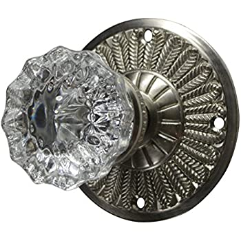 Regency Fluted Real Glass Door Knob With Feathered Plate