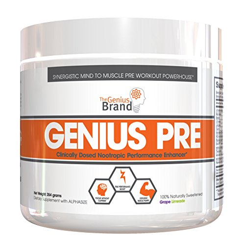 Genius Pre Workout – All Natural Nootropic Preworkout Powder & Caffeine-Free Nitric Oxide Booster with Beta Alanine and...