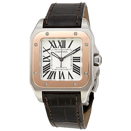 Cartier-Santos-100-automatic-self-wind-mens-Watch-W20107X7-Certified-Pre-owned