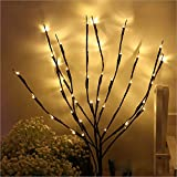 lighted tree branches NAWEDA Branch Lights LED Twigs Artificial Willow Twig Lights for Decoration Warm White Battery Powered 20 Inches 20 LED- 2 Pack