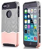 iPhone 8 Plus 7 Plus Case, AICase [Minimal Stripe]Slim [Dual Layer] [Scratch Resistant] Hard Back Cover [Shock Absorbent] TPU Bumper Case for Apple iPhone 7 Plus iPhone 8 Plus (Pink/black)