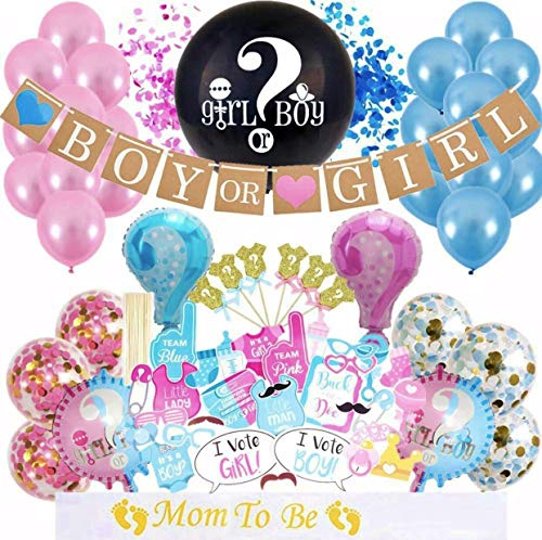 All Star Football Invitations - Gender Reveal Party Supplies -Baby Shower Party Decorations - Boy & Girl Party Reveal Décor with Cake Toppers, Balloons and Confetti - Pink & Blue Complete Party Throwing Kit