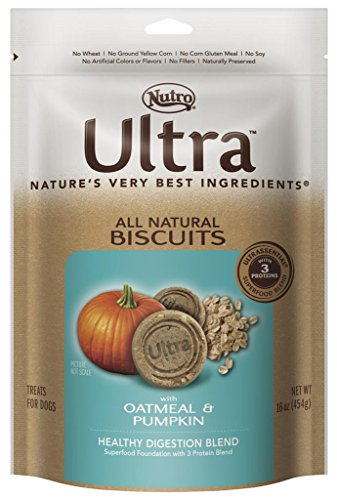 - Nutro Ultra Healthy Digestion Blend All Natural Dog Biscuits With Oatmeal And Pumpkin, 16 Oz.