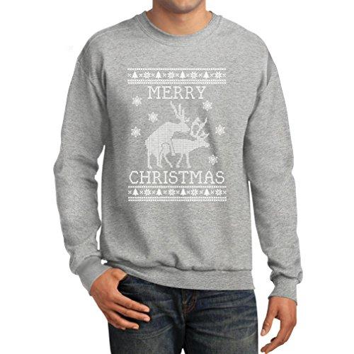 Tstars Funny Ugly Christmas Sweater - Humping Reindeer Men's Sweatshirt X-Large Grey