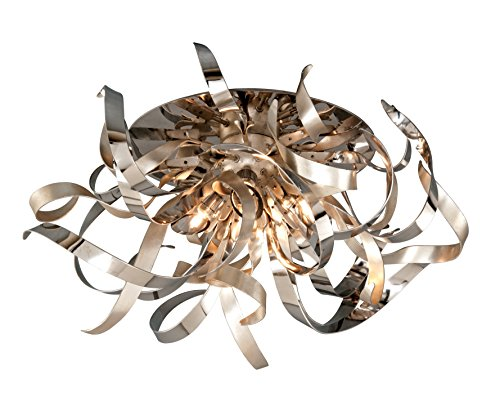 Transitional Corbett Lighting - Corbett Lighting 154-34 Graffitti 4-Light Semi-Flush Mount with Smoked Crystal Diffuser, Silver Leaf with Polished Stainless