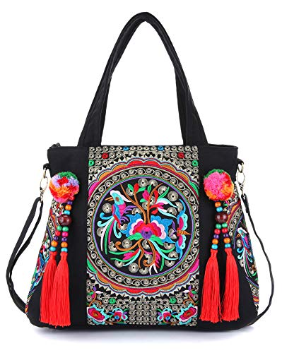 Embroidered Tassels Tote Shoulder Bag Casual Canvas Handbag Cross Body Bag