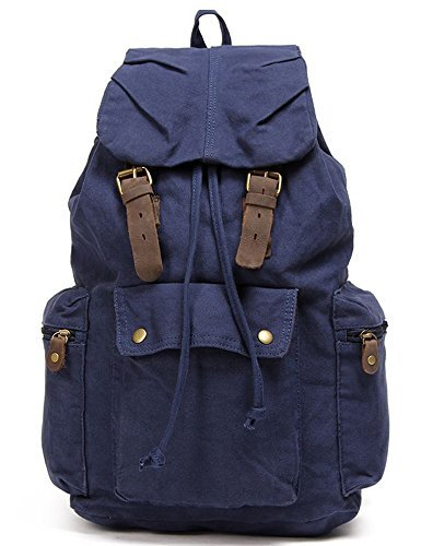 Leaper Causal Style Lightweight Canvas Laptop Bag/Shoulder Bag/School Backpack/Travel Bag (Blue)