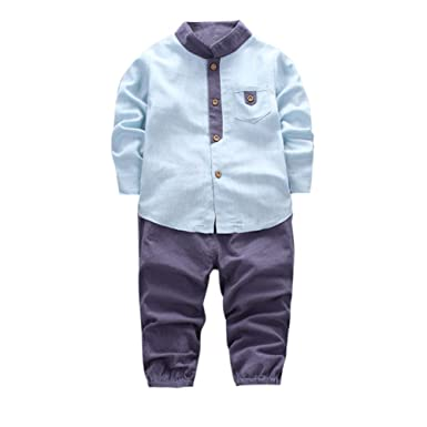 ed26ae8e4611d Robemon Toddler Clothes, Children Kids Costume Baby Boy Cute 2pcs Shirt Tops+Long  Pants Clothes Gentleman Outfits Set: Amazon.co.uk: Clothing