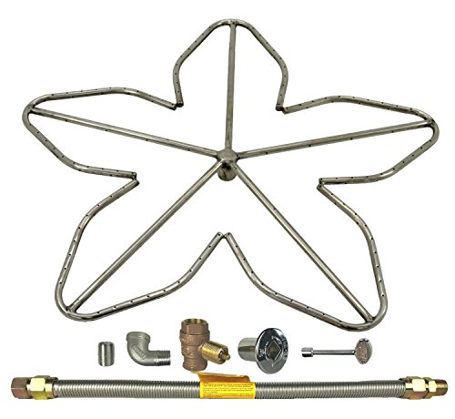 Spotix HPC Penta Fire Pit Burner Kit (FPS-PENTA30KIT-NG-MSCB), 30-Inch Burner, High Capacity, Match Light, Natural Gas