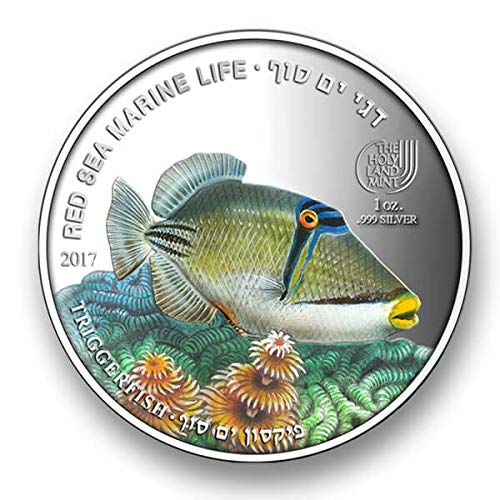 (1 Oz Silver.999 Coin - Red Sea Marine Life - Triggerfish - The Holy Land Mint)