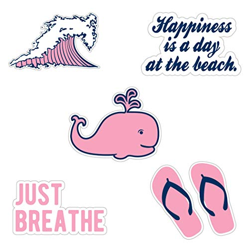 (Cute Beach/Ocean Theme Vinyl Laptop and Water Bottle Decal Sticker Pack, Made in US (Pink))