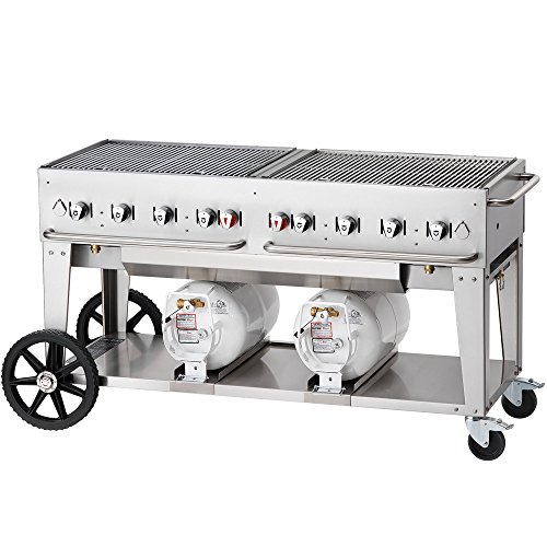 Crown Verity CV-CCB-60-LP Club Series Outdoor Grill, Liquid Propane Charbroiler with Eight Burners & (2) 30 lb Propane Cylinders