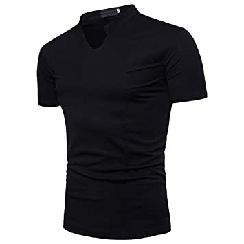 Camiseta Hombres, ❤ Manadlian ❤ Blusa de hombre de moda Manga corta Sudadera con capucha ajustada Sólido Top informal (CN:XXXL, Negro): Amazon.es: ...