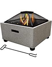 Fire Bowls for Garden, Fire Pit with Grill Shelf, Magnesium Oxide Base, Smoker Barbeque Grill for Outdoor Garden Barbecue Excursion Camping
