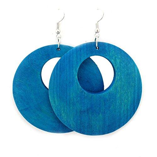 Wooden Earrings – Round Wood Earrings – Wood Earrings – Rasta Earrings-Wooden Handmade Earrings (Aqua-Blue)