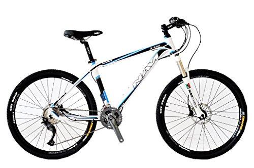 NAVI X680 26-Inch Wheel Hardtail Shimano Alivio 27-Speed Mountain Bike, White/Blue, 17 inch / One Size