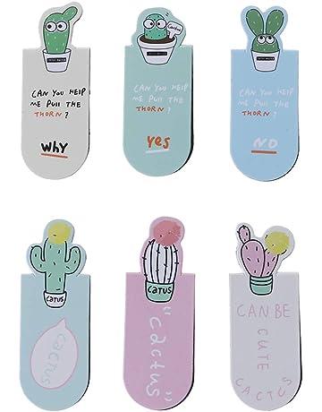 Deendeng - Juego de 3 marcadores magnéticos de cactus para papelería, escuela, oficina,