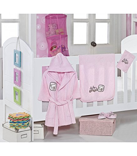 - Teddy Bear, Woven Terry Cloth Baby Bathrobe Set, Bathrobe, Hooded Towel, Washing Glove and Slippers, Pink, 4 Pieces, Made in Turkey, Antibacterial and Hypoallergenic