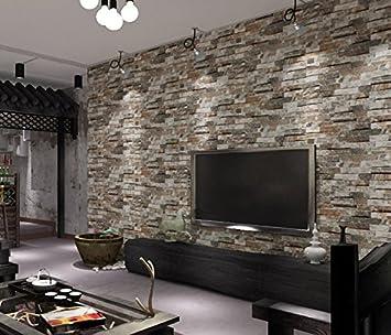 Moderne 3d Motif Gris Brique Papier Peint Antique Restaurant De