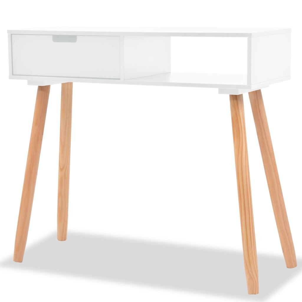 Festnight- Wooden Console Table Side Cabinet Solid Pinewood for Living Room Bed Room 80x30x72 cm White