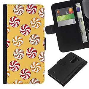 EJOY---La carpeta del tirón la caja de cuero de alta calidad de la PU Caso protector / LG G3 / --Rueda amarillo caramelo Caramel