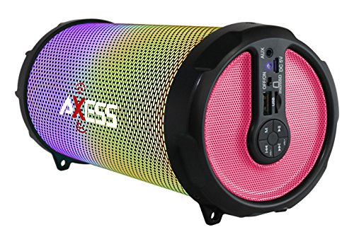 AXESS SPBL1044 Vibrant Plus Black HIFI Bluetooth Speaker with Disco LED Lights In Pink