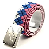 COOL LACE Fashion Reversible Golf Web Belt with Aluminium Alloy Buckle Plus Size (59', Plaid Blue with Feather Buckle)