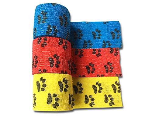 LisaCare Kohäsive Bandage Fixierbinde Selbsthaftend Elastisch - 3er Set - 5cm Breit x 4,5m dehnbar mit Motiv Pfote in Gelb Rot Blau