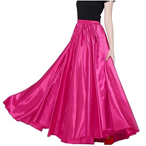 300070c5b9 Satin Long Swing Skirt White Belly Dance Satin Long Dress Elastic ...