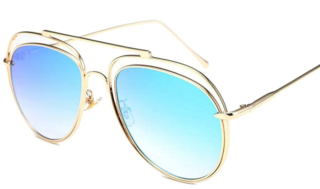 Blyent Womens Unisex Mirror Retro Metal Frame Durable Sunglaeese One Size