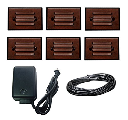 8 Piece Malibu Lighting Kit LED Half Brick Outdoor Deck Step Light Oil Rubbed Bronze Finish + 45 watt Transformer +50 ft landscape wire. BY MALIBU DISTRIBUTION by Malibu C