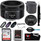 Canon EF 50mm f/1.8 STM Standard Prime Lens with Deluxe Bundle Including: 49mm filter Kit (UV-CPL-ND), 32GB Memory Card, Quality Lens Case & More Cleaning and Care Accessories