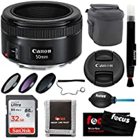 Canon EF 50mm f/1.8 STM Standard Prime Lens w/ 49mm Filter Kit & 32GB Card Bundle