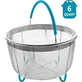 Instant Pot Steamer Basket 6qt - Stainless Steel Instapot Steamer Basket with Silicone Handle and Feet - Insta Steam Vegetables Eggs Rice Meat - IP Accessory Insert Fits Into 6 Quart Pressure Cookers