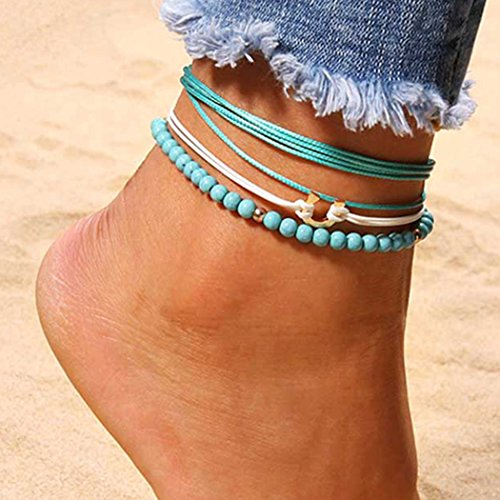 Barogirl Beaded Anklet Chain Jewelry Layered Ankle Bracelets Charms for Women and Girls by Barogirl