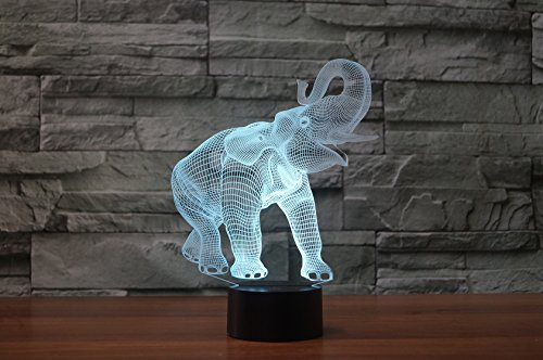 3D Optical Illusion LED Desk Lamp, 7 Color Changing with USB Cable Touch Button Night Light - Best Gift for Kids/Friends/Birthdays/Home Bedroom Decor Lighting (Elephant)