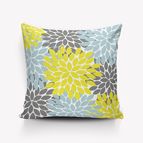 se Covers/Euro Sham/Cushion Sham with Zipper, Luxury Linen Square Pillow Cases for Sofa/Bed/Chair Decor, Dahlia Geometric Floral Yellow/Grey/Blue - 18