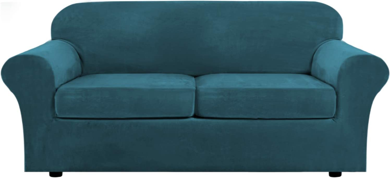 Real Velvet Plush 3 Piece Stretch Sofa Cover Velvet-Sofa Slipcover Sofa Cover Furniture Protector Couch Soft Sofa Slipcover for 2 Cushion Couch with Elastic Bottom(Sofa, Deep Teal)
