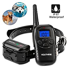 Shock Collar for Dogs with Remote Deep Waterproof & Rechargeable for Large/Medium/Small Dogs Swimming Electronic Training Collar with Safe Beep / Vibrate / Shock / LED Light