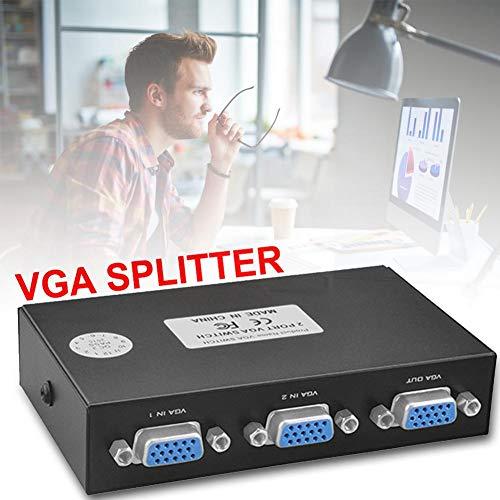 lemon-tree VGA Switcher 2 in 1 Out VGA Computer Switcher 2 Port VGA Switcher 2 Way VGA Splitter Box Video Switch Monitor Converter Adapter Box 2 Port HD 1920 X 1440 VGA Sharing Switch