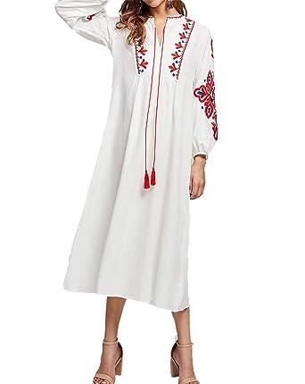 Moda Mujer Abaya Vestido Blanco - Flor Bordada Oriente Medio ...