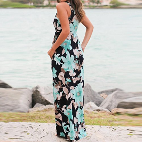 WM & MW Clearance Dresses,Women Summer Beach Dress Sleeveless Floral Pritned Sundress Loose Long Maxi Dress with Pockets (XX-Large, Blue) by WM & MW (Image #2)