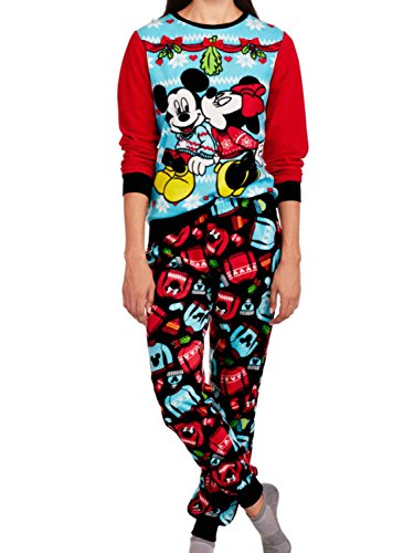 Disney Minnie & Mickey Women's Christmas Holiday Ugly Sweater Pajamas (XL 16-18)